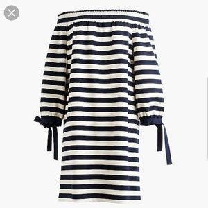 J.Crew Striped Off the Shoulder Dress Tie Sleeves